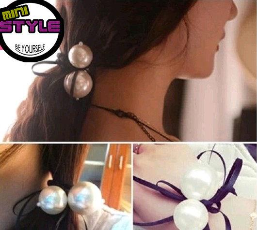 [Mini style] 韓國 氣質 小香風 大小珍珠 流蘇 絲帶 蝴蝶結 髮圈 髮繩 髮飾 頭飾 髮束 綁頭髮 珍珠