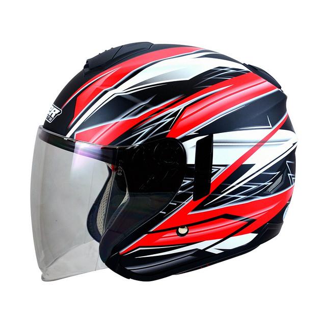 M2R FR1 FR-1 9雷霆半罩安全帽3 4罩安全帽消光黑紅雙層遮陽鏡片免運費
