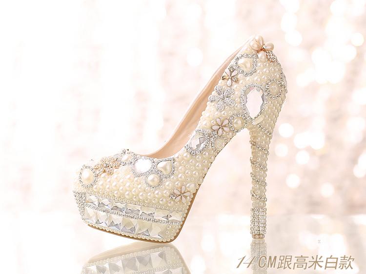 珍珠水鑽婚鞋新娘鞋水晶鞋單鞋高跟鞋女鞋防水台婚紗禮服鞋   :6661212029