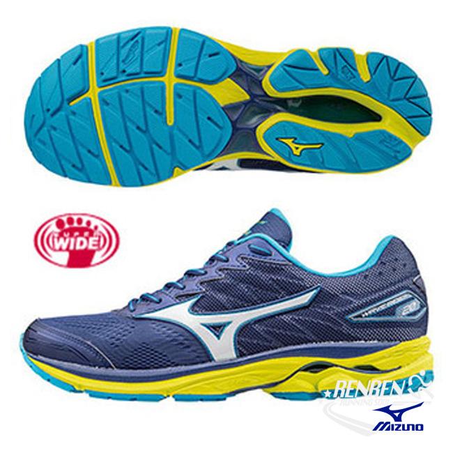 美津濃MIZUNO男跑鞋WAVE RIDER 20深藍綠超寬楦雲波浪款路跑鞋J1GC170407胖媛的店
