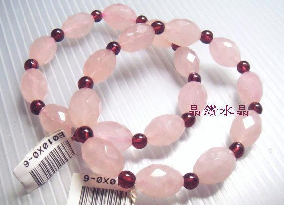 天然粉晶芙蓉晶超優質搭配天然紅石榴手鍊-充滿自信的愛情-送禮物佳-附禮盒*免運費