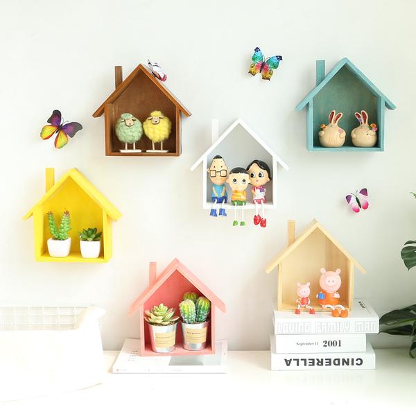 田園簡約木質彩色小房子家居房間牆上裝飾品隔板牆壁飾壁掛置物架─預購CH2124