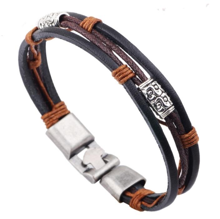 復古 手飾 三根 皮繩 臘線 對扣 手鍊 飾品