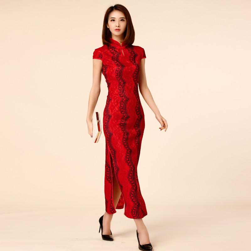 中大尺碼*復古風中國旗袍式波浪蕾絲短袖長款禮服~喜宴表演~美之札