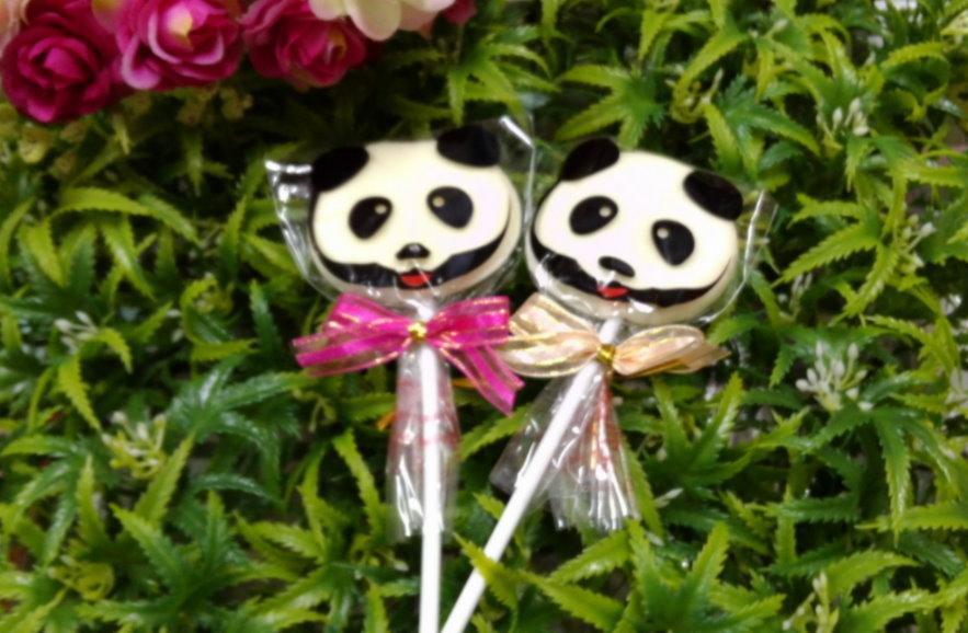 熊貓棒棒糖-粉色/支/滿百枝送花筒*1(婚禮小物)喜糖&第二次進場&送客小禮&慶生會