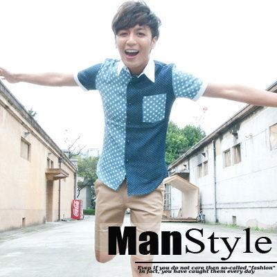 ManStyle潮流嚴選(情侶款)原宿風潮俏皮點點深淺拼接設計感短袖襯衫【01C1016】