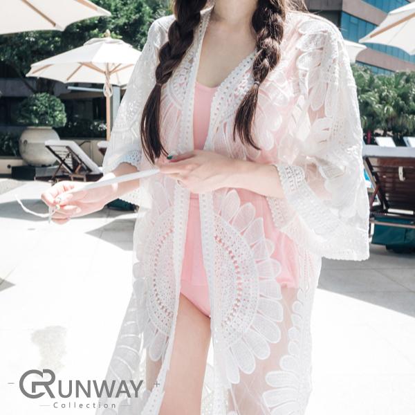 向日葵 大圓花朵 白透蕾絲 七分袖 縷空性感罩衫 服裝泳裝外搭 長開衫