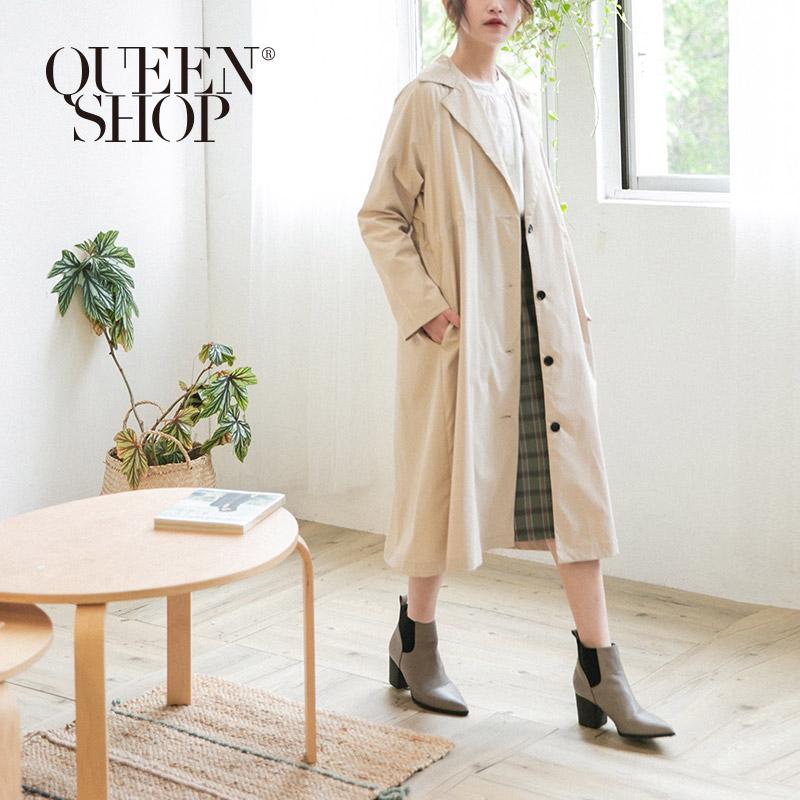 Queen Shop【02040619】綁帶設計長版風衣外套*現+預*