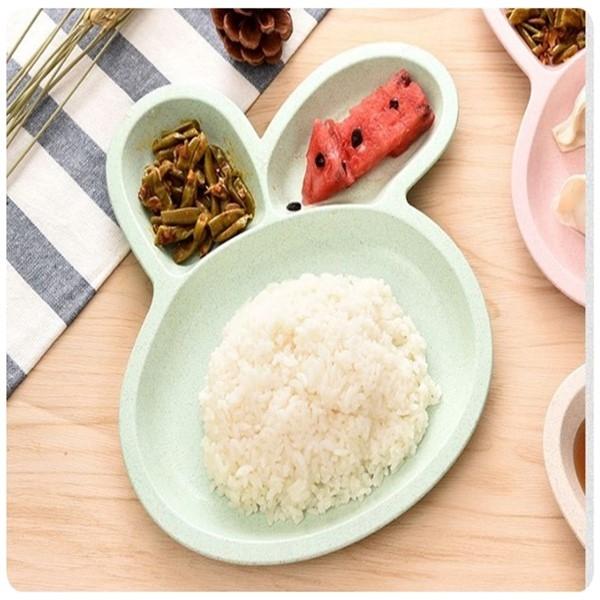 兔子三格餐盤無毒小麥秸稈卡通兔子頭3格水餃餐碟兒童學生飯盤點心分格盤子餐具