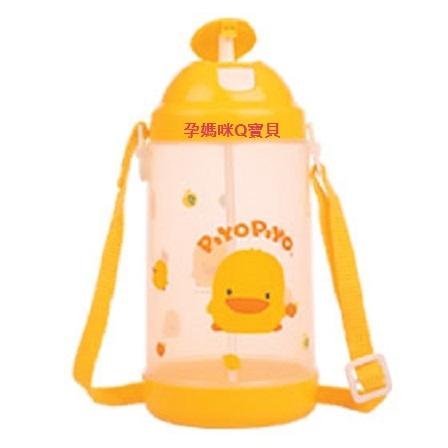 台灣製黃色小鴨彈跳水壺800cc超大容量輕壓彈跳蓋可調式揹帶兒童水壺嬰幼兒水壺~83302