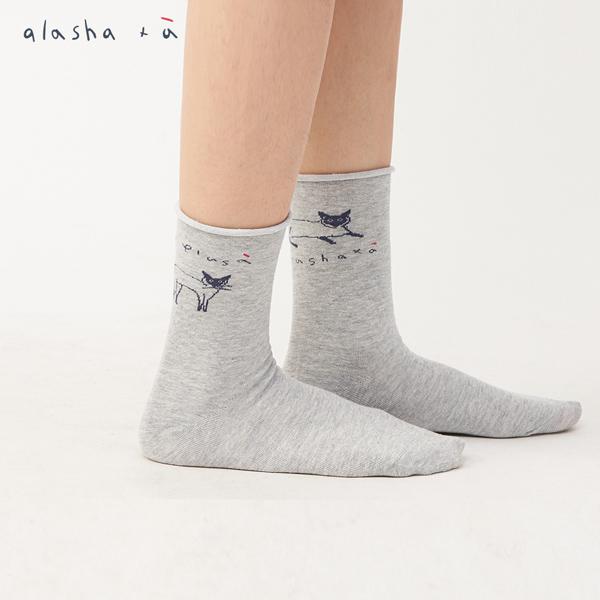 a la sha+a  插畫線條貓咪中筒襪