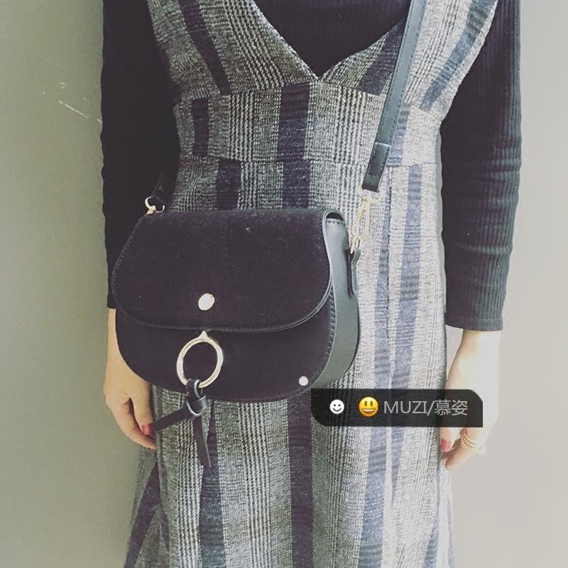 서울역首爾站明星款反絨皮圓環包女包簡約斜挎馬鞍包時尚faye包頭層牛皮包