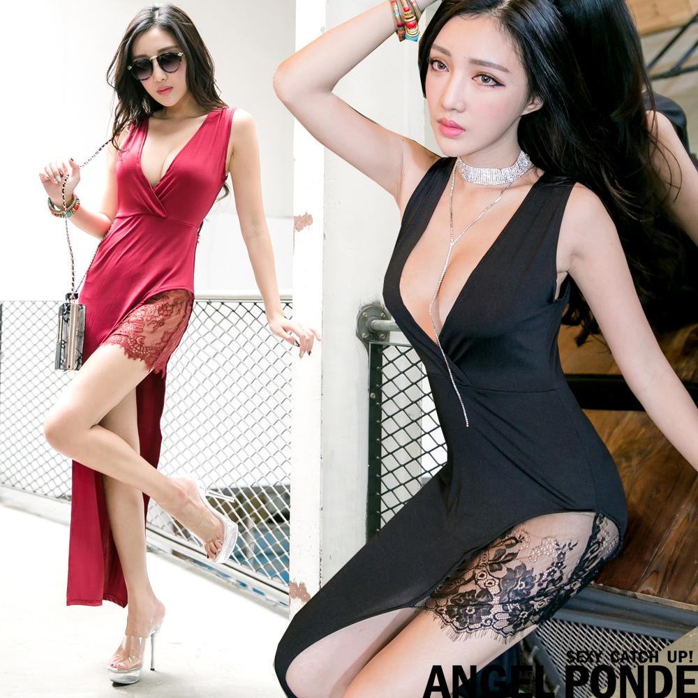 天使波堤AC01763深V蕾絲拼接露腿不對稱連身裙長洋裝共二色-顯色保養限量特輯公開