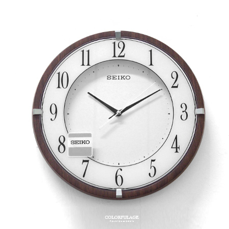 SEIKO精工掛鐘生活美學精緻仿木紋色澤x金屬鐵片裝飾品味時鐘柒彩年代NG12原廠公司貨