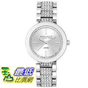 104美國直購女土手錶Anne Klein New York Swarovski Crystal Accented Silver-Tone Watch A969896 4178