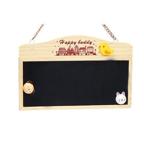 原木可掛式黑板雙面帶磁性送立體磁鐵板擦粉筆~可愛小黑板留言版門牌