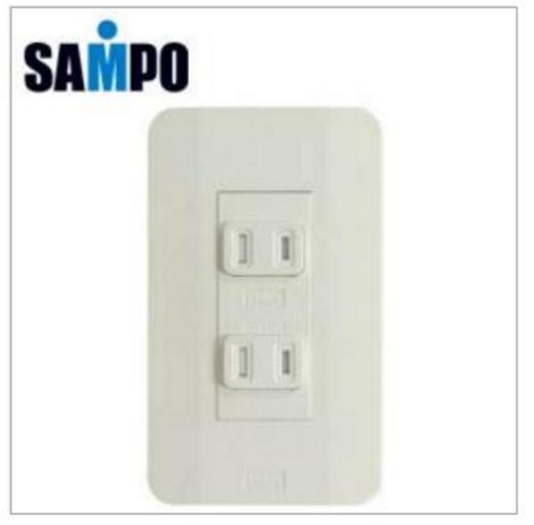 新竹【超人3C】SAMPO 2孔2座防觸電防塵蓋壁插(SXEP-UP2WT)插座/廚房/浴室/電源線/110/二孔/家電