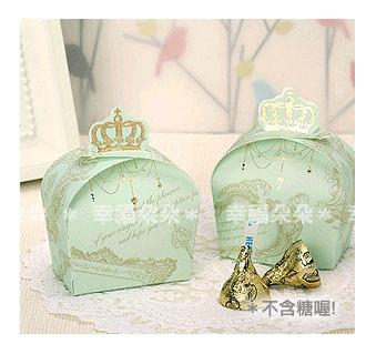 幸福朵朵 *【皇冠燙金喜糖盒(需DIY)X100個】-創意喜糖盒 禮品糖果餅乾包裝盒 包裝材料 二次進場