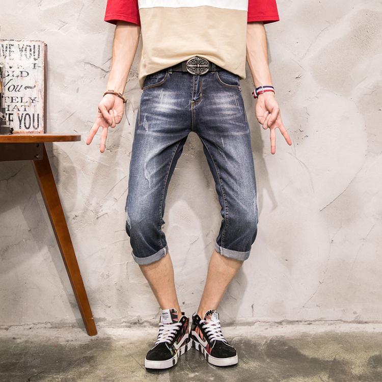 七分短褲男士青少年彈力學生小腳7分牛仔褲ღ部落男裝ღ