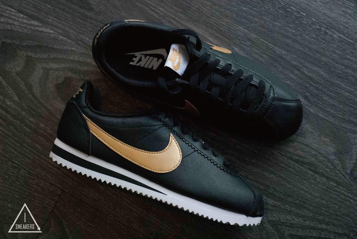 ISNEAKERS Nike WMNS Classic Cortez黑金金勾皮革阿甘男女807471-012