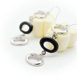 華爾滋水鑽圓弧耳環