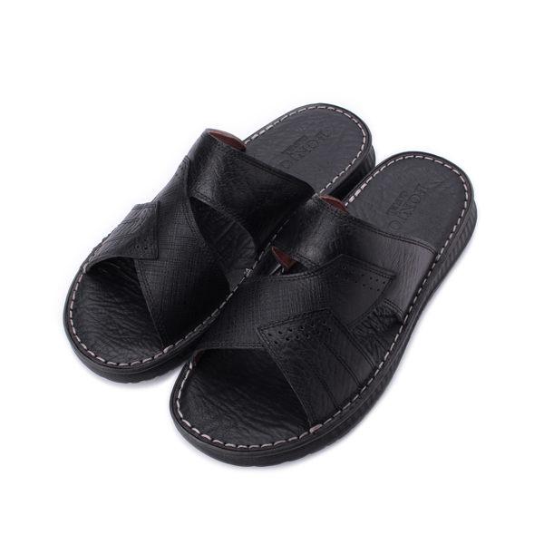 BONJO 荔紋真皮套式拖鞋 黑 男鞋 鞋全家福