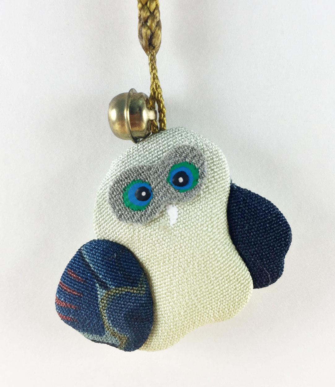 震撼精品百貨日本手機吊飾~和風布材質-貓頭鷹圖案-藍翅膀