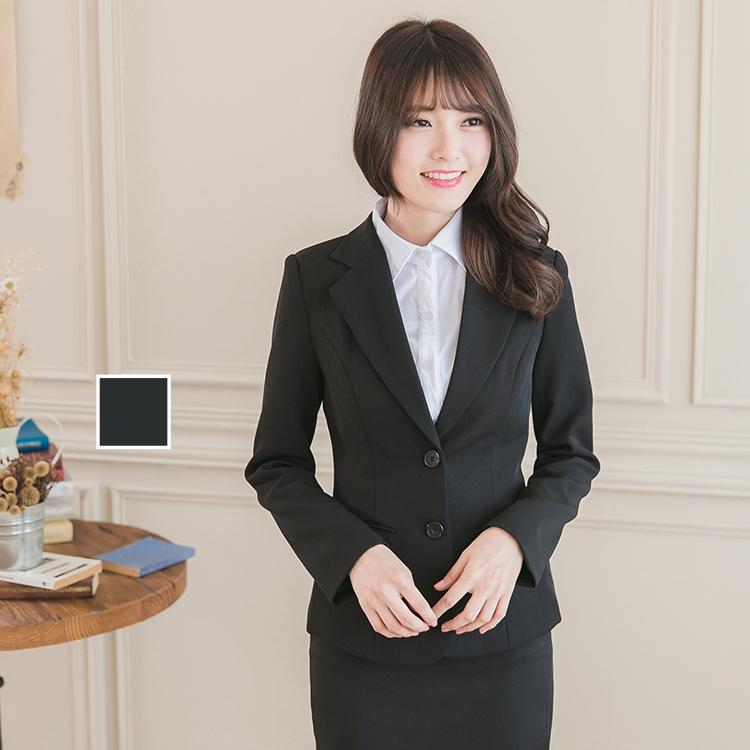 中大超大尺碼 女生兩釦黑色西裝外套【Sebiro西米羅男女套裝制服】013000001
