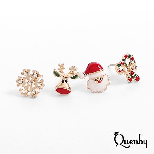 Quenby 冬季節慶風聖誕元素系列組合-4件組耳環/耳針