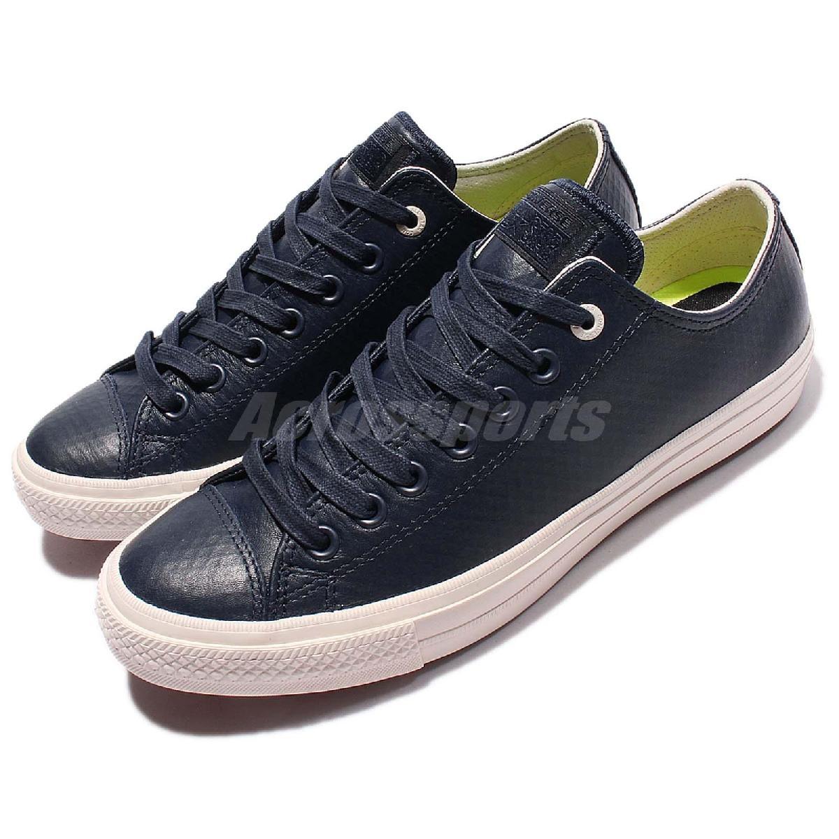 Converse Chuck Taylor All Star II藍白奶油底低筒精緻皮革帆布鞋男鞋PUMP306 153557C