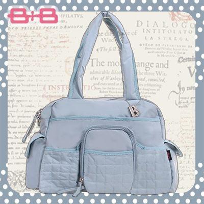 休閒B媽媽空氣包-水藍尿布墊保溫袋大空間肩揹側背媽咪包HAPPY B B E-B-95193B-LB