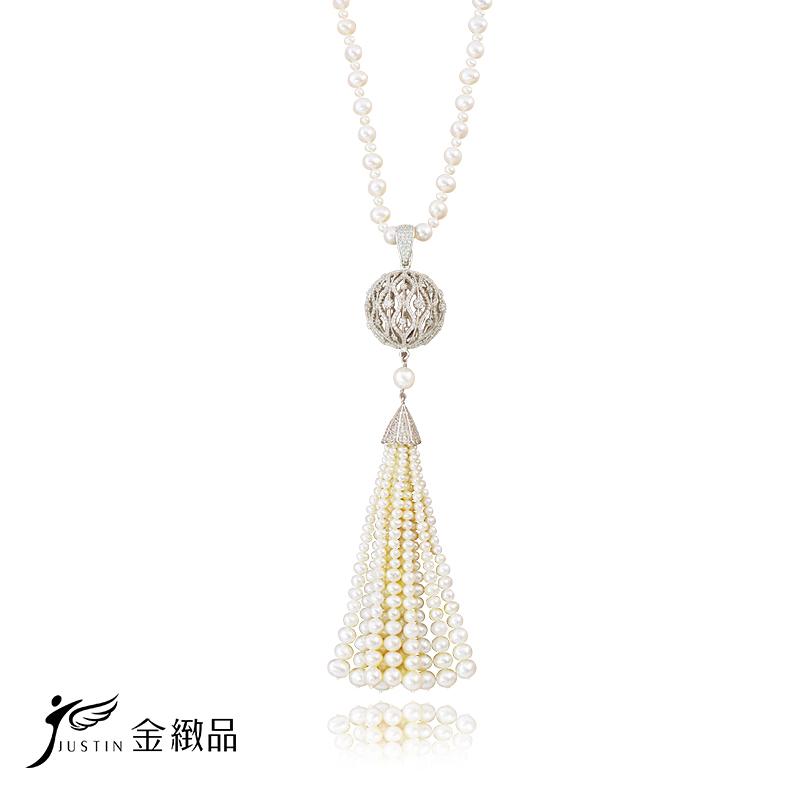 Justin金緻品 天然珍珠套鍊 雍容 925純銀 抗過敏 典雅珍珠 多戴款 贈珍珠耳環