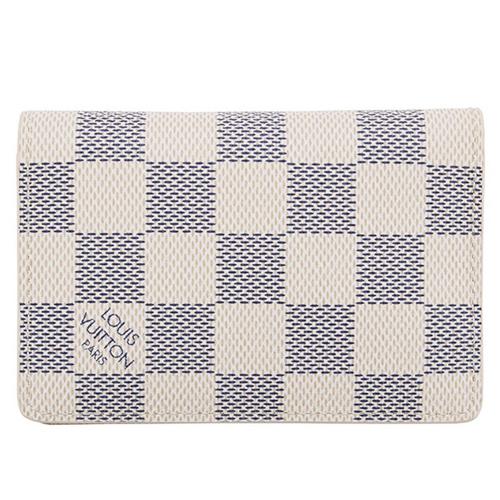 茱麗葉精品全新精品Louis Vuitton LV N63144白棋盤格紋信用卡簡便短夾預購