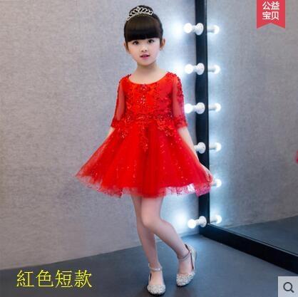 熊孩子蓬蓬裙鋼琴演出服晚禮服白色夏紅色短款