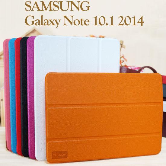 三折透明殼三星SAMSUNG Galaxy Note 10.1 2014 P6000 P6050木紋皮套平板保護套斜立展示~清倉