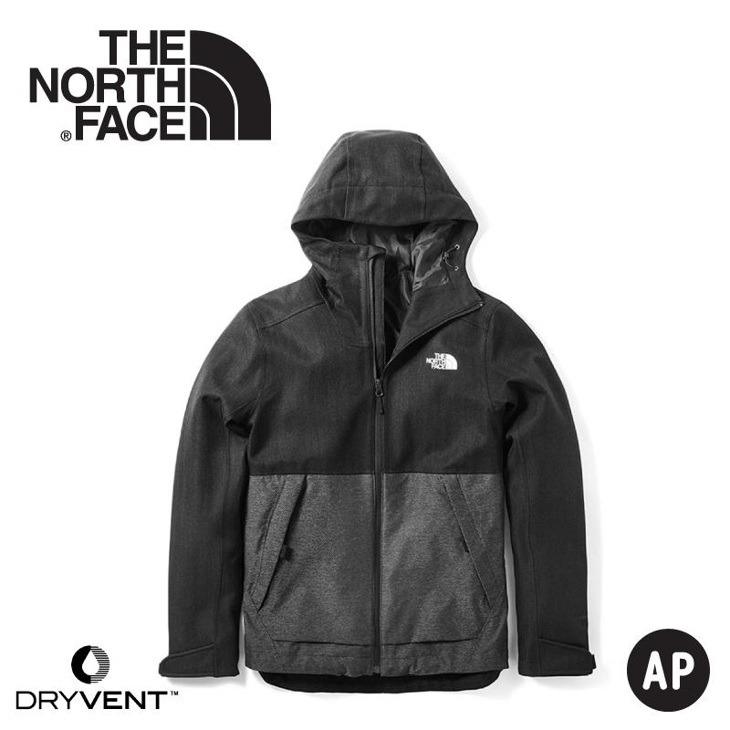 【The North Face 男 DryVent防水外套《黑/中灰》】3VPK/防水外套/防風外套/保暖外套/連帽外套