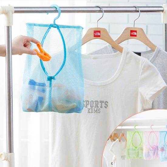 可掛式多用途收納網袋1入晾曬衣夾收納網袋廚房浴室多用掛袋