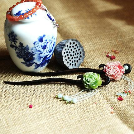 迷幻珍寶黑檀木簪子牡丹頭飾品發釵步搖翡翠預購7天現貨