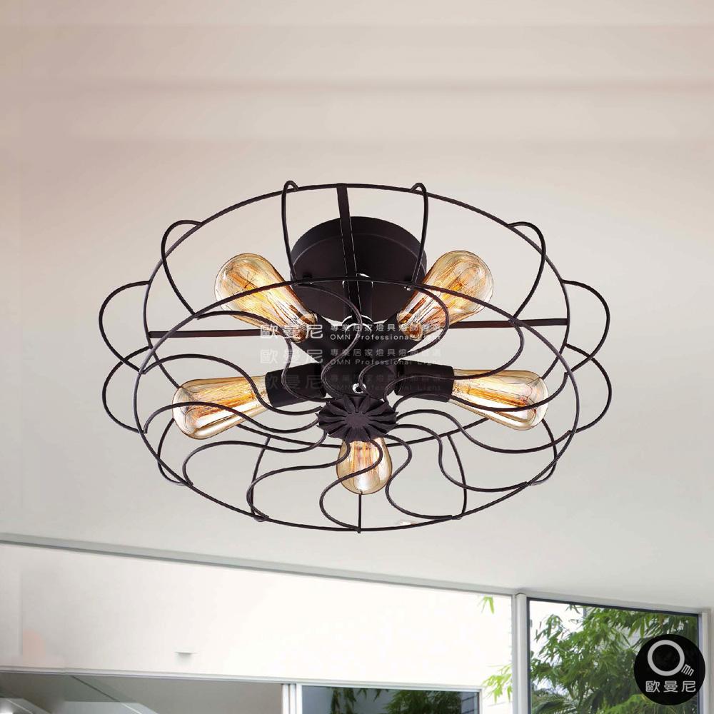吸頂燈Loft工業風仿電風扇造型吸頂燈5燈燈具燈飾專業首選歐曼尼