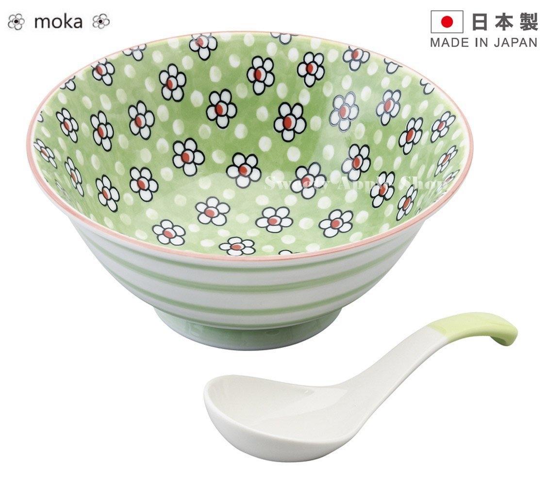 日本製日本限定moka陶瓷湯碗附湯匙套組綠色