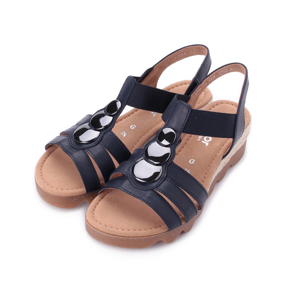 德國 GABOR 圓釦羅馬涼鞋 黑 22.752.66 女鞋