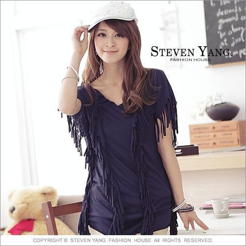 《STEVEN YANG》V領上衣 M0032 長版上衣 流蘇造型設計
