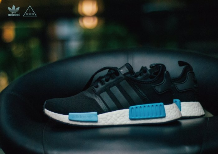 ADIDAS ORIGINAL NMD R1黑藍粉藍水藍網布運動球鞋BY9951