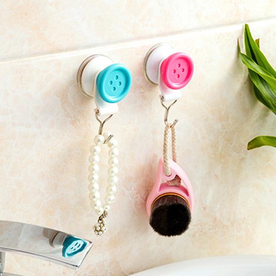 MY COLOR鈕扣造型無痕吸盤掛勾免釘廚房浴室懸掛牆面磁磚玻璃壁掛黏貼M158