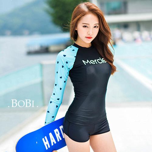 泳衣比基尼泳裝點點字母運動防曬兩件套長袖泳裝SF8027 BOBI 04 14