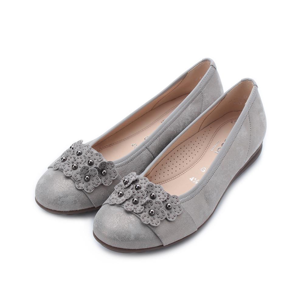 德國 GABOR 反毛花朵滾珠平底鞋 灰 22.624.93 女鞋