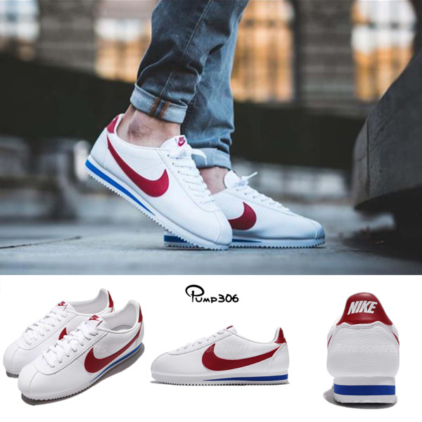 Nike 阿甘鞋 Classic Cortez Leather 白 藍 紅 OG 原版配色 皮革 男鞋 女鞋 【PUMP306】 749571-154