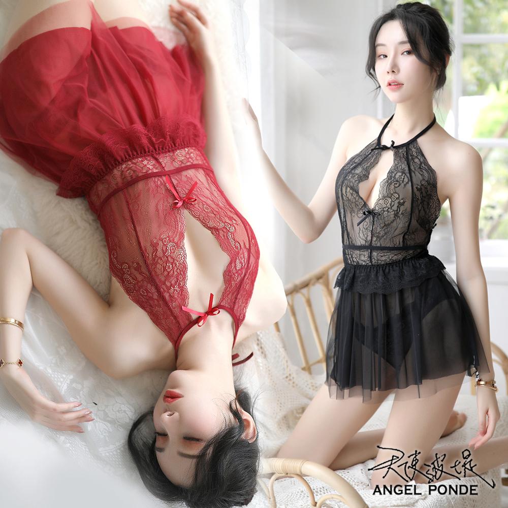 天使波堤【LD0496】裸背綁薄蕾絲網紗睡裙網襪吊帶襪連身居家睡衣罩衫馬甲二件式-紅色(共四色)