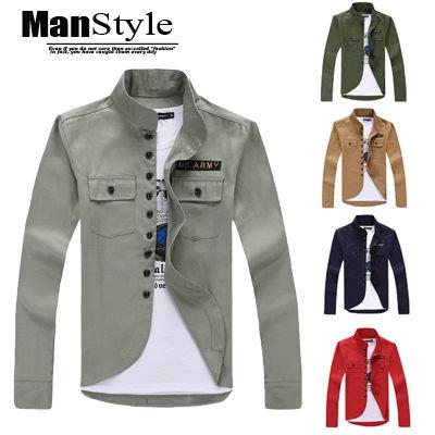 軍裝外套ManStyle潮流嚴選美ARMY徽章立領口袋長襯衫外套09F0039