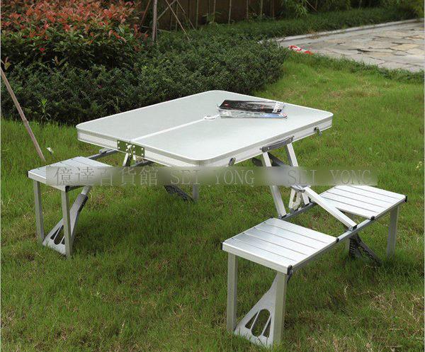 億達百貨館20501-鋁合金連體桌椅露營桌野餐桌可折疊攜帶方便特價